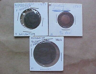 These Three Old Argentina Coins 1823 Un Dec. 1827 5/10 Reale 1860 2 R-  3 Coins