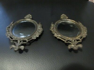 (2) ANTIQUE - Framed Mirrors - ITALY - 6 1/2 by 4 inches - Unique!