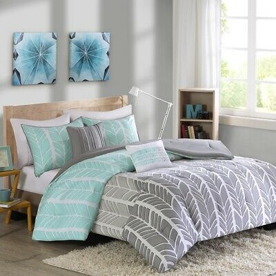 Aqua Blue Grey & White Geometric Chevron Comforter Set AND Decorative Pillows