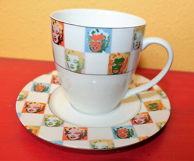 Andy Warhol Block Marilyn Monroe Art Print Tea Coffee Cup Saucer Plate Set Mug