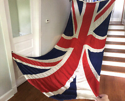 HUGE ANTIQUE 12.5ft x 5.83ft Naval Great Britain Union Jack Flag England British