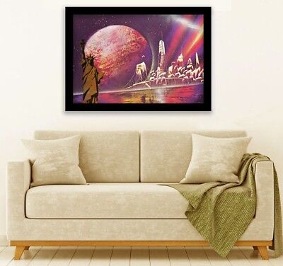 Original spray paint art, hand made, New York skyline, Statue of Liberty in gold