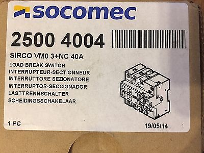 SOCOMEC 2500 4004 SIRCO VM0 3+NC 40A Load Break Switch New