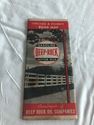 1937 Deep Rock Oil Co Deep Rock Gas & Oil Chicago & Vicinity Road Map