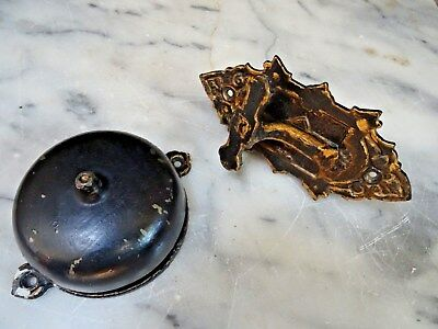 ANTIQUE DOOR BELL w/HANDLE Pat. April 28, 1874 Rings Loud and Clear One Time