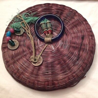 Vintage Chinese Wicker Sewing Basket w/ Decorative Coins & Beads