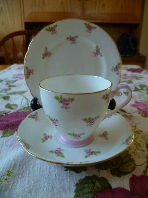 Pretty  English China Trio Tea Cup Saucer Plate Little Pink Roses