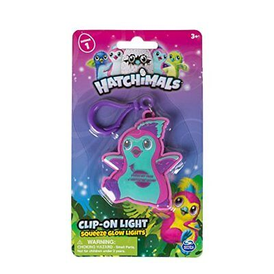 Hatchimals Clip On Squeeze Glow Light, 2.75 inches - Blue/Pink