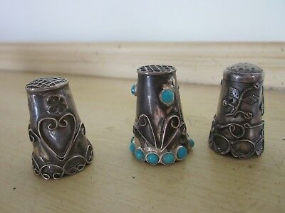 3 Old Sterling Thimbles - One W. Turquoise