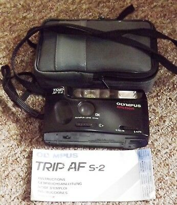 Olympus Trip AF S-2 Camera 35mm Compact - with case and instructions