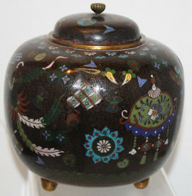 Antique Japanese Melon type Cloisonné Enameled Footed Ginger Jar