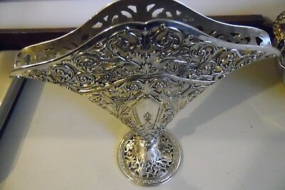 GSA Godinger Silverplate Art Co Ornate Pierced Fan Shaped Flower Vase