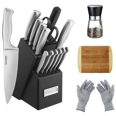 Cuisinart Stainless Steel Hollow Handle 15-Pc. Knife Block Set w/ Chef's Bundle