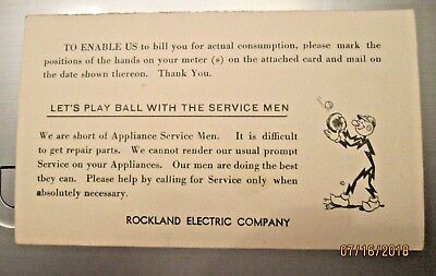1944 Postcard Reddy Kilowatt Playing Baseball WWII Message Rockland Electric