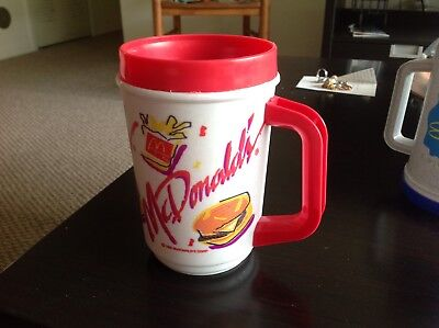 Vintage 90s McDonald's Coffee Plastic Travel Mug Cup, Red, Burger & Fries
