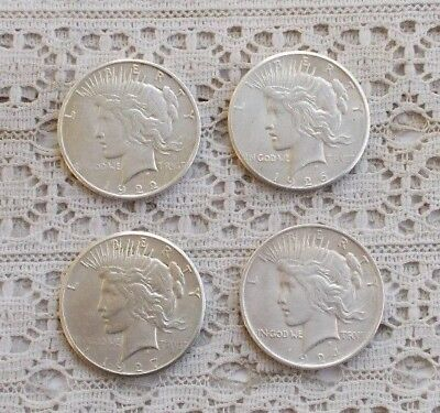 LOT 4 Vintage Antique Silver Dollars USA Coins Money Peace Dollars 22 24 26 27