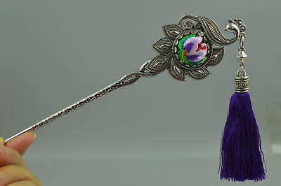 Collectibles Tibet Silver Phoenix & Embroidery Flower Noble Decor woman Hairpin
