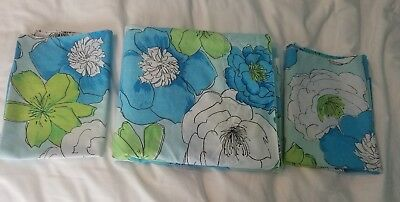 Vintage Bibb Blue Green White Flower Power Twin Flat Sheet 2 Pillowcases Bedding