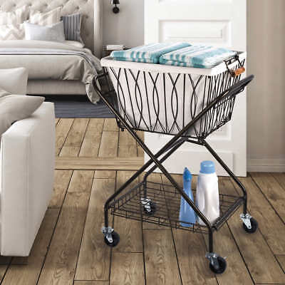8b9d32581d0 Artesa Verona Laundry Cart with Removable Basket Canvas Bag Collapsible  Storage