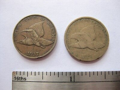1857 and 1858 U.S. Flying Eagle ONE Cents, uncertified