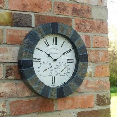 "Outdoor Sandstone Effect Wall Clock and Thermometer Garden Display Slate 14"" dia"