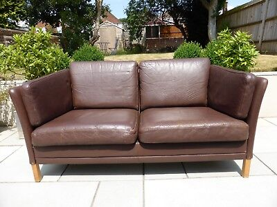 Sofa 2-seater Danish vintage in chocolate brown leather Mogens Hansen style