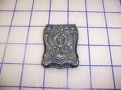 Antique Art Nouveau Sterling Silver Match Safe With Embossed Flowers And Lady