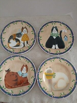 "Garden Cats 8.25"" Plates Set 4 Different Cats Fiddlestix Dishwasher Safe Sakura"