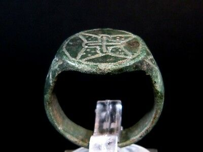 Luxurious Bronze Medieval Crusader Ring, Nice Radiant Cross On Top+++