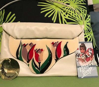 Vintage 80s Patricia Smith Floral MOON BAG-Bone Color-New with Tag & Reg Card