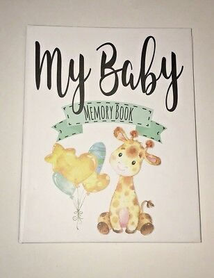 Baby Memory Book Journal Giraffe Unisex Gender Neutral by Ocean Drop Designs