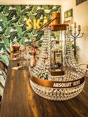 Rare Absolut Elyx Vodka Copper Hanging Chandelier Large Ice Bucket Glorifier