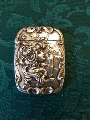 Antique sterling silver Lady Smoking  Match Safe.