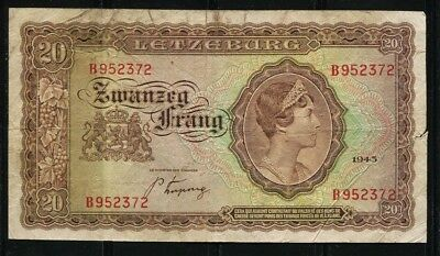 .Paper Money Luxembourg 1943 20 francs B952372