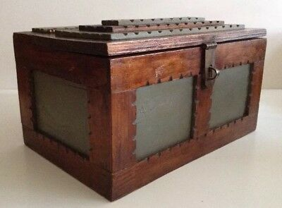 Antique Primitive Folk Art Wood Hand Carved Tramp Art Hinged Box Treasure Chest
