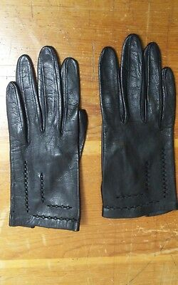 Vintage Small Ladies Girls Black Leather Gloves w/Embroidery