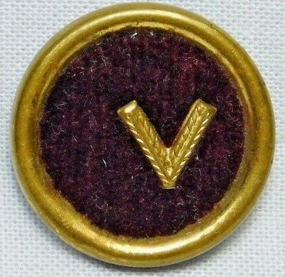 Antique BRASS & BURGUNDY RED Fabric Button V for VICTORY WWII
