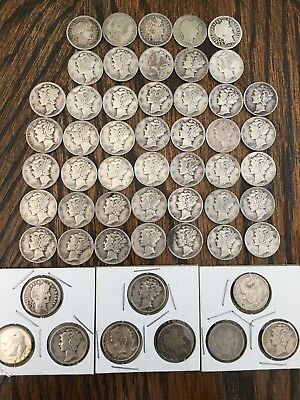 Lot 54 Silver Barber Mercury Roosevelt Dimes Mixed Dates & Mint Marks 1893-1964