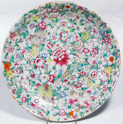 AMAZING Chinese Millefiori Famille Rose Plate