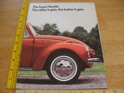 1972 VW Volkswagen Super Beetle bug dealers brochure magazine w/ colors