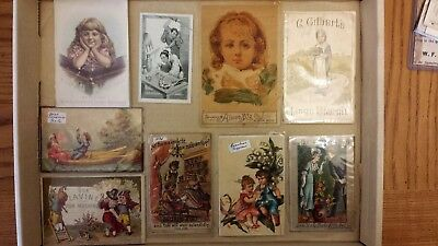8 Victorian advertising trade cards lot 1800's. Lavine, A & P, Albion Seeder.