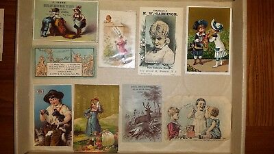 9 Victorian advertising trade cards lot 1800's. Tooth Powder, Boots, Umbrella's.