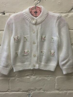 Vtg Infant White Acrylic Cardigan Pink Rosebuds Sweater Friedknit