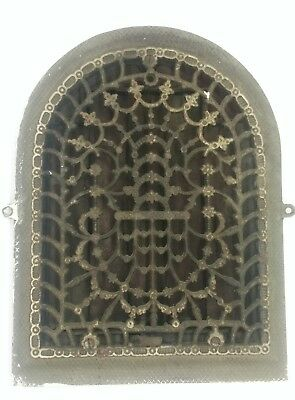Antique 1886 Cast Iron Arch Top Dome Heat Grate Wall Register Floral 12x9