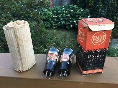 Pair of RCA Radiotron UX-245 Radio Vacuum Amplifier Tube One in Box Untested Lot
