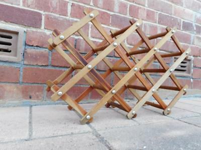 c.1960s Mid-Century Modern Solid Timber Wine Rack Holds 10 Bottles Spring Loaded