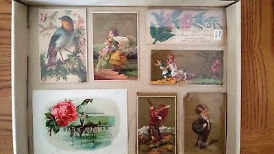 7 Victorian advertising trade cards lot from 1800's. Shoes, Tea, Cough Syrup.