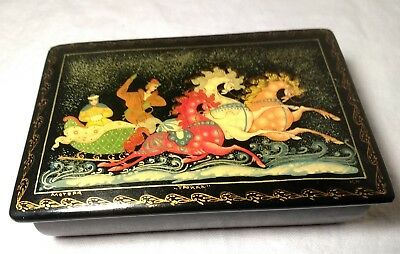 Vintage Signed Russian Hand Painted Black Lacquer Box with Couple~Sled ~Horses