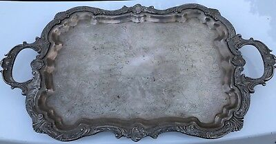 "Antique Birmingham Silver Company Footed Butler Serving Tray 25""X14"""