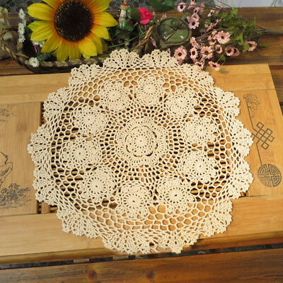 Vintage Hand Crochet Lace Doily Round Table Topper 20inch Floral Pattern